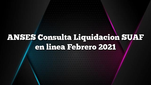 ANSES Consulta Liquidacion SUAF online Febrero 2021