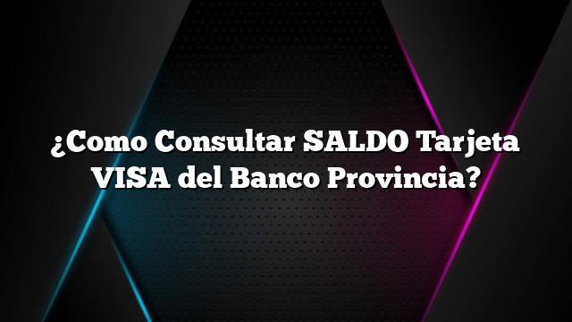 ¿Como Consultar SALDO Tarjeta VISA del Banco Provincia?