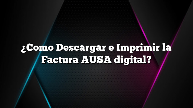 ¿Como Descargar e Imprimir la Factura AUSA digital?
